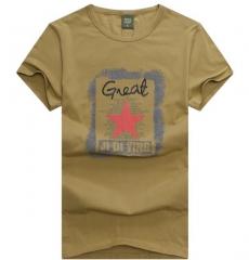 British men loose short-sleeved T-shirt round neck personality red star print T-shirt khaki m