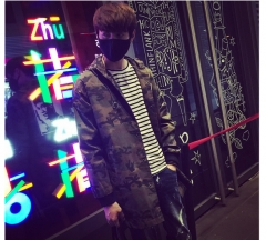 Men's camouflage coat  long hooded coat as the picture m