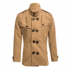 Stylish Male Zipper Design Both Sides Pocket Double-Breasted Overcoat khaki l