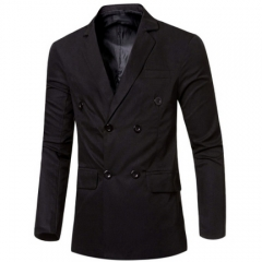 Simple Design Solid Color Pocket Decoration Double-breasted Male Suit Jacket black m