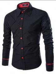 New men's Plaid shirt  British fashion long sleeved shirts black m