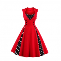 Hot women stitching big skirt bursts retro dress 7082 navy 5xl