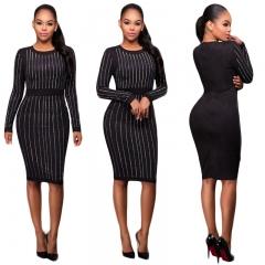 Hot style sexy slim long-sleeved dress CMS9659 black s