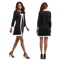 Women 's Sweet Nine Sleeve Bowknot Fake Two - piece Dress MC5115732 black s