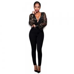 Explosive sexy fashion deep V tassel sequins net yarn perspective Siamese pants CMS9652 black s