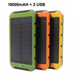 Portable Solar Power Bank 2 USB Solar Panel Mobile Charger for Smartphone green 10000mAh