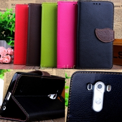 For LG G3-Leaf Buckle Phone Cover-Stand Function+Card Holder+Wallet Flip black pu leather