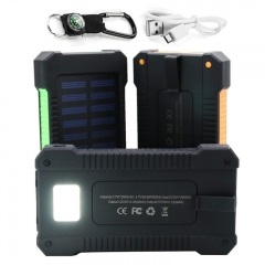 Portable Solar Power Bank 2 USB Solar Panel Mobile Charger for Smartphone green 20000mah