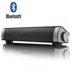 Bluetooth Small Sound Bar 3.0 Channel 15.7in 10W(2X5W) Wireless Subwoofer Stereo Speaker black lp-08
