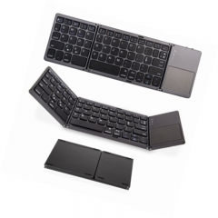 Folding Bluetooth Keyboard, Rechargeable Portable BT Wireless Foldable Mini Keyboard with Touchpad