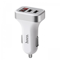 Car Charger Digital Display Dual USB Port for Phone Charging Adapter 3.1A  Double USB white #01