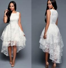 Elegant Women White Dress Sleeveless Long Dress white white s