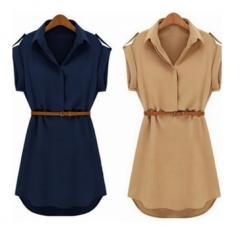Women's Cap Sleeve Stretch Mini Dress With Belt khaki s