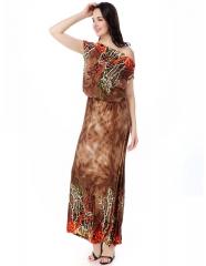 Dress Women Summer Beach Dress Plus Size Printed Bohemian Dress Slash Neck Long Maxi Dress brown xl