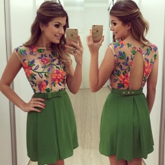 New unique Flower Pattern Lace Hollow back Perspective sexy Dress green s