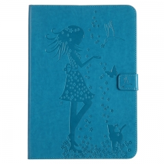 Samsung Galaxy Tab A 9.7-Inch SM-T550 Case,Embossed [Girl Cat] Folio Flip Wallet Cover (Blue) For Galaxy Tab A 9.7-Inch SM-T550