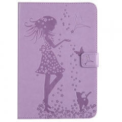 Samsung Galaxy Tab A 8.0-inch SM-T350 Case,Embossed [Girl Cat] Folio Flip Wallet Cover (Lavender) For Galaxy Tab A 8.0-inch SM-T350