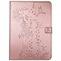 iPad Air 2 / iPad 6 Case,Embossed [Girl Cat] Folio Flip Wallet Cover (Rose Gold) For iPad Air 2 / iPad 6