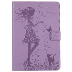iPad Mini3/2/1 Case,Embossed [Girl Cat] Folio Flip Wallet Cover (Lavender) For iPad Mini3/2/1