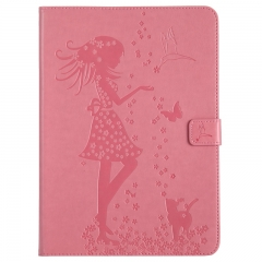 iPad 9.7-inch (2017) Case,Embossed [Girl Cat] Folio Flip Wallet Cover (Pink) For iPad 9.7-inch (2017)