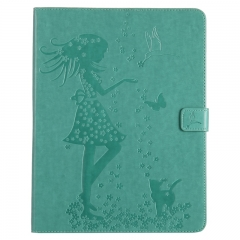 iPad 2/3/4 Case,Embossed [Girl Cat] Folio Flip Wallet Cover (Green) For iPad 2/3/4