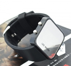 Fashion led mirror Cool Table Trend Student Digital Watch Creative Couple Make up Watch black one size