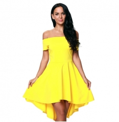 fashion dress for women clothing 2017 charms high low skater ladies dresses elegant night club wear yellow s