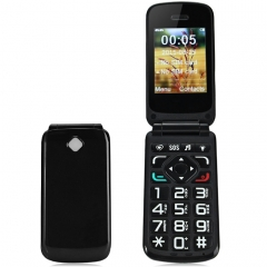 VKWORLD Diamond Z2 Flip Phone 2.4 inch Unlocked Phone with FM MP3 Dual SIM Big Keypad Big Fonts SOS Black