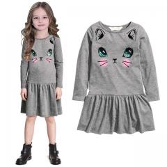 Fashion Long Sleeve Baby Girl Princess Dress Cotton Cute Kitten Printing Girl Children Dress gray S