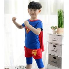 Batman Short Sleeve Baby Boy Clothes Sets Superman Children Clothing Suit Superhero Kid Boy Clothes blue 3T