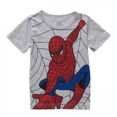 Fashion Spiderman Printing Baby Boy T-shirt Summer Short Sleeve Kid Tee Cotton Children Clothing gray 3T