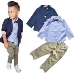 Children's Clothing Sets Baby Boy Suit Long Sleeve Shirts+Jacket +Kid Pants 3pcs Cotton Boy Suit Set one color 2T