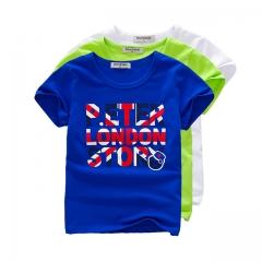 Summer Fashion Boy T-shirt Printed Baby Boy Tops  Short Sleeve Children Clothing Cotton Kid Tee blue 100
