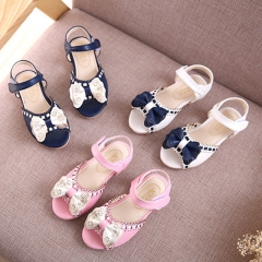Fashion Leather Girl Princess Shoes  Low-heeled Toe Children Shoes Tendon Soft Bottom Girl Sandals white 27