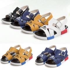 Fashion Adidas Leather Boy Children Shoes Flat Heel Toe Children Shoes Tendon Soft Bottom Sandals white 21