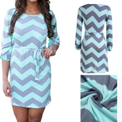 Free Shipping Wave Striped Sleeve Lace Dress Package Hip Skirt blue L