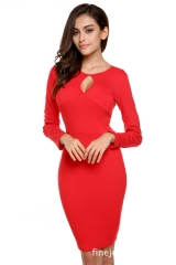 Free Shipping Sexy Chest Opening Round Neck Slim Thin Pencil Package Hip Skirt (Red) red M