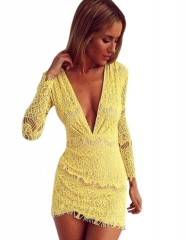 Free Shipping Hot Sexy V-neck Long-sleeved Bottoming Skirt Lace Short Dress yellow S