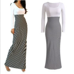 Free Shipping Autumn New Round Neck Long-sleeved Stitching Long Section Elegant Striped Pencil Skirt white S