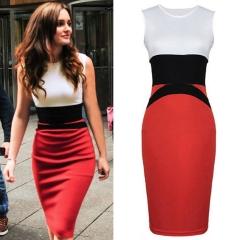 Free Shipping Stitching Business Office Lady Evening Dress Big Yards Hit Bandage Dress red S