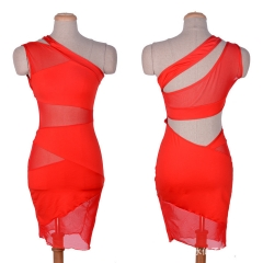 Free Shipping Sexy Lingerie Nightclub Mesh Shoulder Prom Stitching Dress red Unique