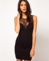 Free Shipping Sleeveless Lace Stitching Perspective Sexy Backless Vest Package Hip Skirt black S