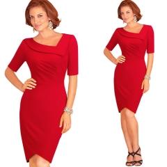 ladies lapel in sleeves foffice ladyd high waist Slim pencil skirt hip skirt dress red red S