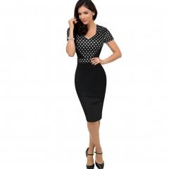 women V-neck short-sleeved stitching pencil skirt sexy wave point high waist package hip dress black black M