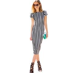 Summer knit cotton striped elastic round neck short sleeve Slim package hip pencil dress Black and white stripes Black and white stripes S