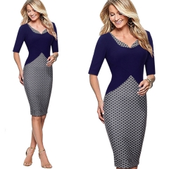 V-neck sleeve stitching geometric printing high waist Slim pencil skirt dress Navy blue Navy blue S