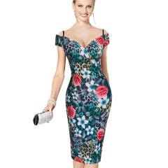 V-neck short-sleeved sling adjustable waist was thin temperament dress black black S