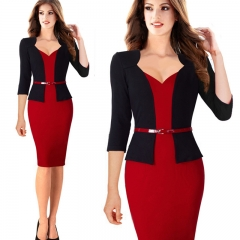 women fashion fake two-piece hip pencil pencil red red S