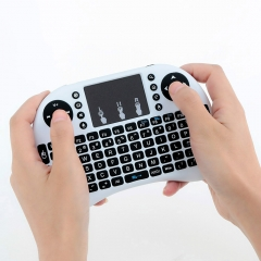 2.4GHz Wireless Handheld Qwerty Keyboard Touchpad Mouse White 14.6*8.8*1.8cm