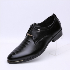 Men PU Leather shoes Pointed toe Classic Business Shoes Black 42